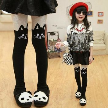 Spring Autumn Kitty Hello High Knee Socks Children Dance Cute Girls Kids Stocking Kawaii Anime Dancing Socks Totoro Cats Sock