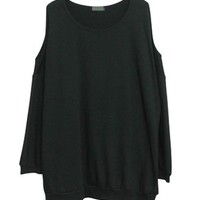 Black Oversized Sweatshirt with Cut Out Shoulders