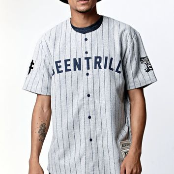Been Trill ## Wool Baseball Jersey - Mens Tee - Grey/Navy