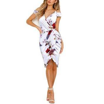 sexy off shoulder v neck floral women casual bodycon midi summer party dress clothes ladies dresses sundress