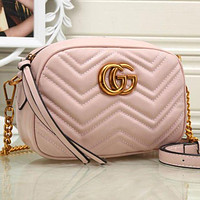 Gucci Fashion Ladies Metal GG Chain Leather Crossbody Satchel Shoulder Bag Pink I