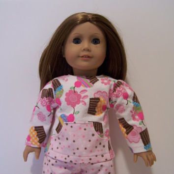 American Girl pajamas flannel pink white brown cupcakes polka dots 18 inch doll pyjamas