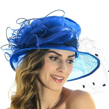Lady Fascinating Church Hat Kentucky Derby Bridal Wedding Floral Tea Party Hat S044 (Royal Blue)