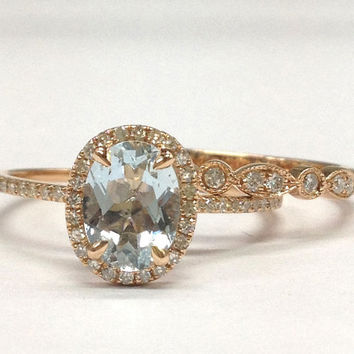 Diamond Wedding Ring Set!Aquamarine Engagement Ring 14K Rose Gold!6x8mm Oval Cut Blue Aquamarine,Wedding Bridal Ring,Art Deco matching band