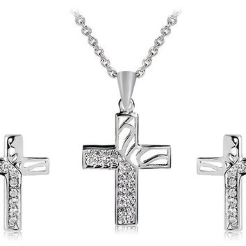 925 Silver Plated Crystal Decorated Cross Earrings & Necklace Set (Silver)