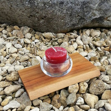 OOAK Wooden tea light holder with glass, made out of Wild Cherry, red, cranberry, christmas lights, christmas, stocking filler