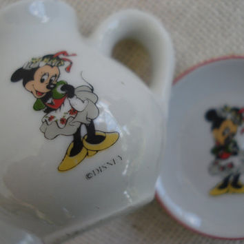 Miniature Tea Set / Minnie Mouse Tea Set / Disney Tea Set / Doll Tea Set