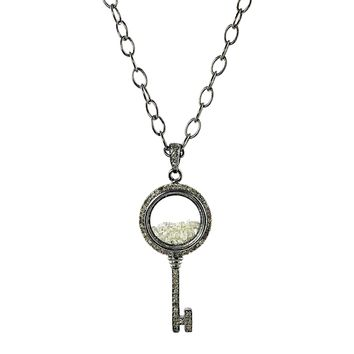 1.51ct Round Diamonds in 925 Silver Key Glass Shaker Pendant Necklace