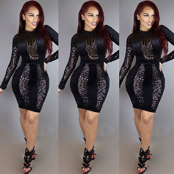 Black Sexy Sequin Women Dress Vestidos Desigual Bandage Bodycon Dress for Women Long Sleeve Silm Club Party Dresses