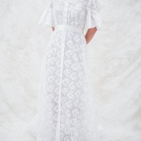 1960s Sheer Lace Wedding Dress - S