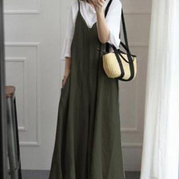 ZANZEA Summer Women Strappy V Neck Wide Leg Pants Casual Jumpsuits Rompers Cotton Linen Bib Overalls Loose Dungarees Plus Size