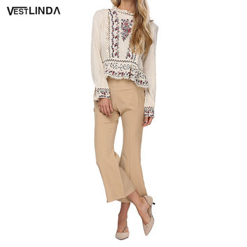 VESTLINDA Vintage Floral Embroidery Blouse Spring Women Tops Ruffled Neck Lantern Sleeve Blouses Hollow Out Casual Women Blouse