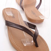 Brown Faux Leather Thong Strap Slip On Sandals