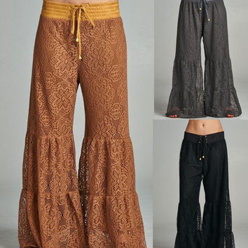 Eliza Bella Boho Cutest Crochet Palazzo Pant Adjustable Waist One Size