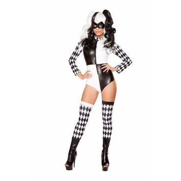 Roma Costume 2 Piece Playful Jester Costume Babe Costume Black/White - Medium