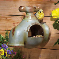 Home Sweet Home Wall Mount Water Faucet Bird Feeder Rustic Country Yard Decor