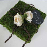 Natural Woodland Moss Covered Ring Bearer Pillow by astylishdesign