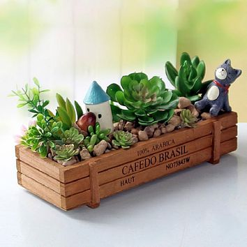 Wood Flowerpot Garden Planter Plant Pot Window Box Trough Pot Succulent Flower Bed Plant Bed Pot Flower Pots & Planters