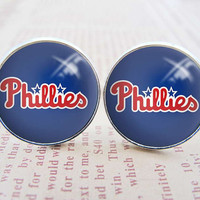 Unique Mens Cuff Links , Silver MLB Philadelphia Phillies Logo Cufflinks , Gift Box ,  Custom Cuff Links
