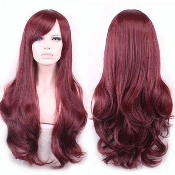 Wine red heat resistant wig