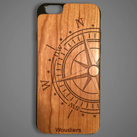 Compass wooden iPhone 6 case, protective hybrid rubber and wood, compass case, iphone 6, galaxy s3, galaxy s4, galaxy s5