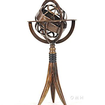 Brass Armillary On Horn Stand Hancrafted Nautical Decor