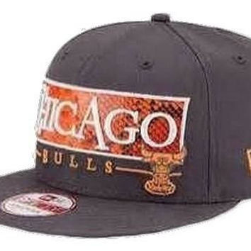 Chicago Bulls NBA Snake Word Strapback Hat by New Era New with Stickers Size M/L