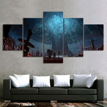 5 Piece World of Warcraft Decor Painting Battle for Azeroth Approach To Teldrassil