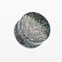 A Pair of Ultra Shine Glittered Double Flared Acrylic Ear Gauge Plug