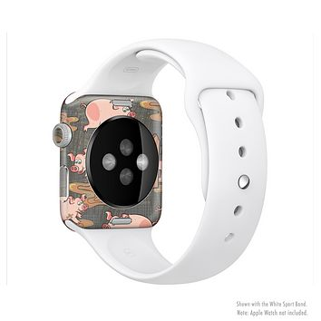 The Cartoon Muddy Pigs Full-Body Skin Set for the Apple Watch