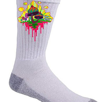 'Drippy Mushrooms' Funny Hippy Shroom Dripping Design Artwork - Crew Socks