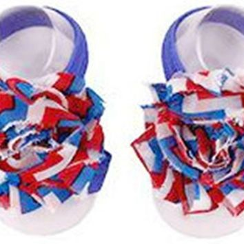 Shabby Chic Baby Toddler Barefoot Sandal Patriotic Chiffon Flower Elastic Foot Wear  2 Pc 1 Pair New Item