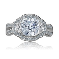 2.5 CT. Cushion Radiant Vintage micro pave halo split shank engagement/wedding three stone Sterling Silver ring Simulated Diamond - Diamond Veneer 635R4004