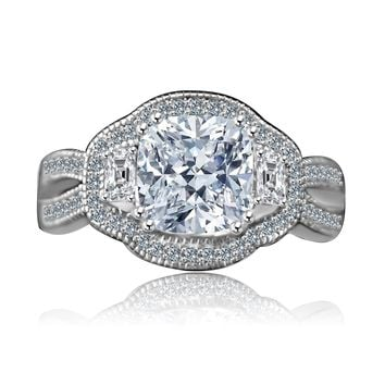 Intensely Radiant 2.5 CT. Cushion Vintage Halo Split Shank Engagement/Wedding Three Stone Sterling Silver Ring Simulated Diamond - Diamond Veneer. 635R4004