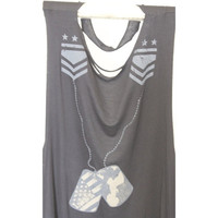 Black Military Camo Tank with Torn Slashed Back, Arrow & Dogtag Details, One Size Fits Most