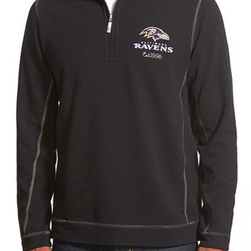 Men's Tommy Bahama 'Ben & Terry - Baltimore Ravens' NFL Quarter Zip Pullover,