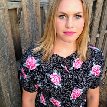 Vintage Black and White Polka Dot & Pink Rose Pattern Buttoned Up Shirt Women's