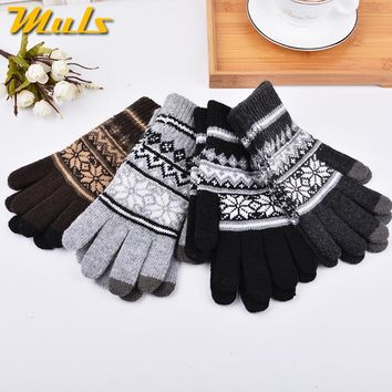 4Colors Mens Winter Gloves Full Finger Hand Warmer Touch Screen Gants Male Knitted Wool Bicycle Thicken Mittens luvas de inverno