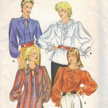 1980s Butterick 4172 Sewing Pattern Boho Style Loose Fit Shirt Top Ruffle Neckline Peasant Poet Blouse Plus Size Full Figure Bust 38 Uncut