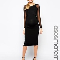 ASOS Maternity | ASOS Maternity Knitted Midi Dress With Sheer Overlay at ASOS