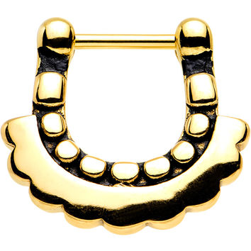 "16 Gauge 5/16"" Gold Tone Aztec Moon Septum Clicker"