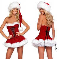 Christmas Clothes Women Fashion Sleeveless Bandage Strapless Mini Dress Party Uniform Set