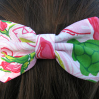 SALE Delta Zeta Lilly Pulitzer Fabric Bow  MEDIUM by ASETX on Etsy