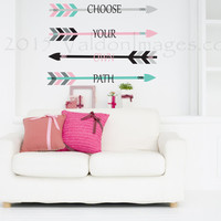 Choose your own path, wall decal, arrow wall decal, inspirational decal, dorm room wall decor, bedroom decal, bohemian decal, boho sticker
