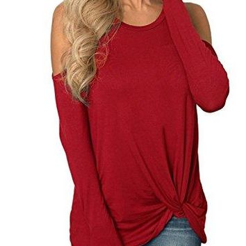 Happy Sailed Women Casual Round Neck Cold Shoulder Long Sleeve Knotted Hem Blouse Top