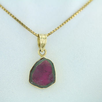 Watermelon Tourmaline 18kt Gold Pendant