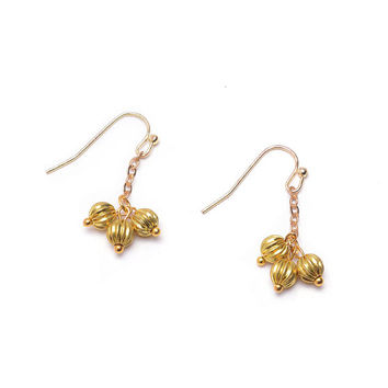 Small Gold Dangle Earrings, Abstract Flower Jewelry, Small Gold Drop Earrings