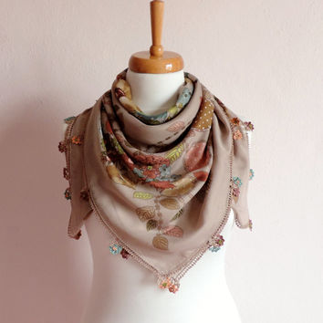 Turkish Scarf (Yemeni)With Crochet Lace, Light Brown Floral Cotton Scarf