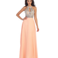 Peach Halter Geometric Beaded Chiffon Gown 2015 Homecoming Dresses