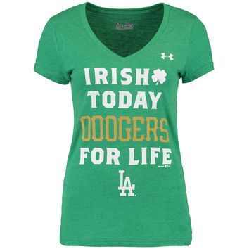 Women's Under Armour Heathered Kelly Green Los Angeles Dodgers St. Patrick's Day Performance T-Shirt